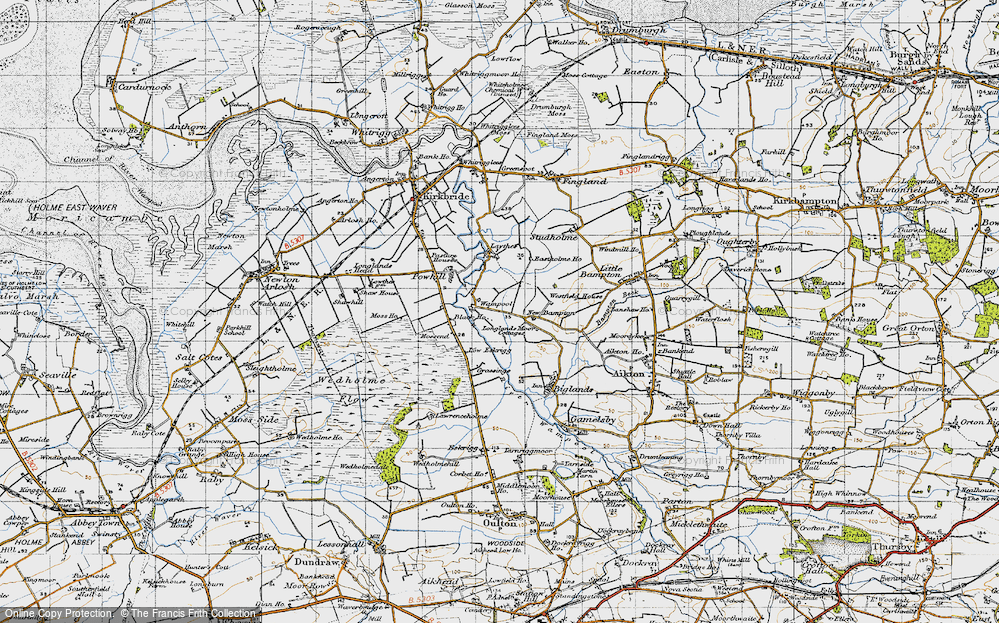Old Map of Historic Map covering Laythes, The in 1947