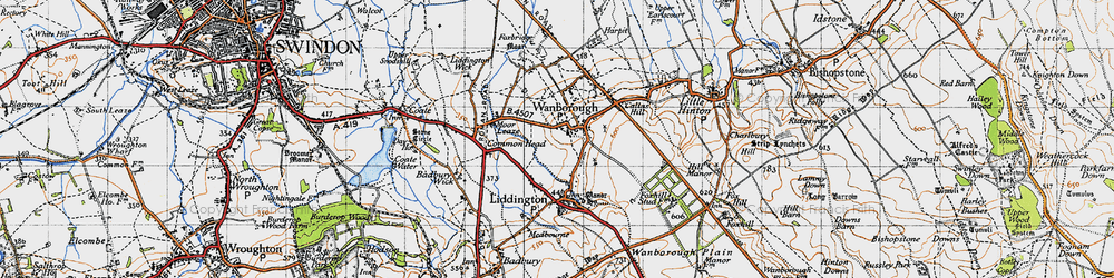 Old map of Wanborough in 1947