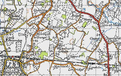 Old map of Lindridge in 1940