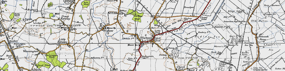 Old map of Warboys in 1946