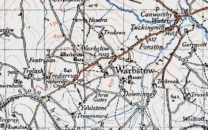 Old map of Warbstow Cross in 1946