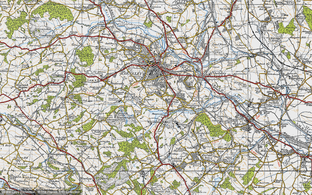 Old Map of Historic Map covering Worsbrough Country Park in 1947