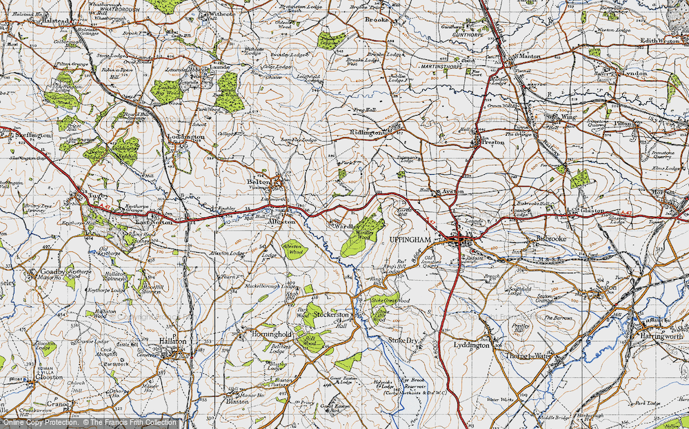 Old Map of Historic Map covering Allexton Wood in 1946