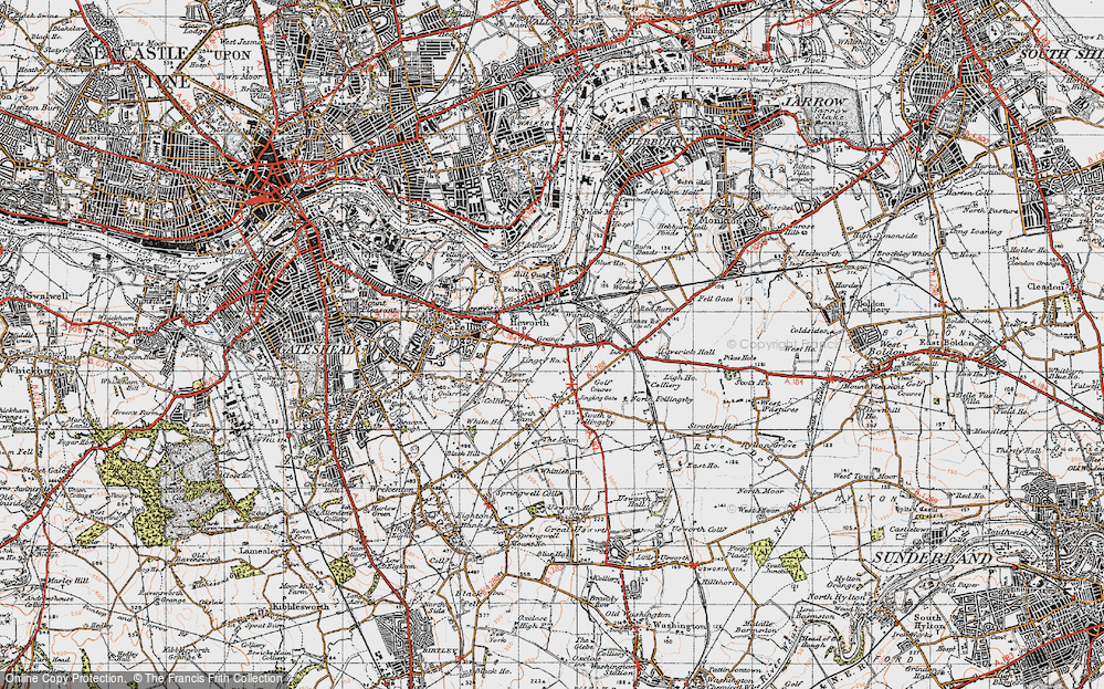 Old Map of Historic Map covering Leam Lane in 1947