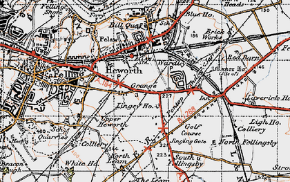 Old map of Leam Lane in 1947