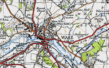 Old map of Ware in 1946
