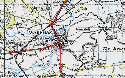 Old map of Wareham in 1940