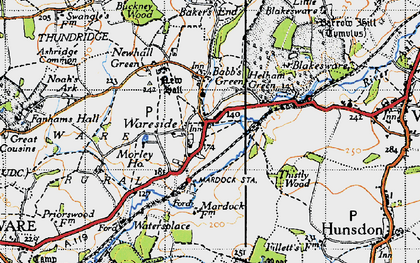 Old map of Wareside in 1946