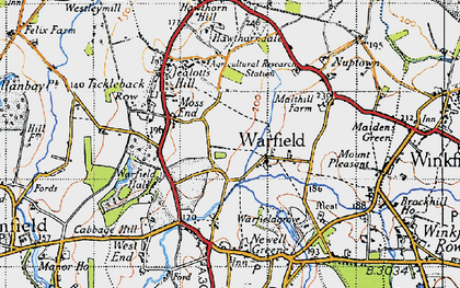 Old map of Warfield in 1940