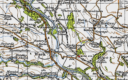 Old map of Woodley Shield in 1947