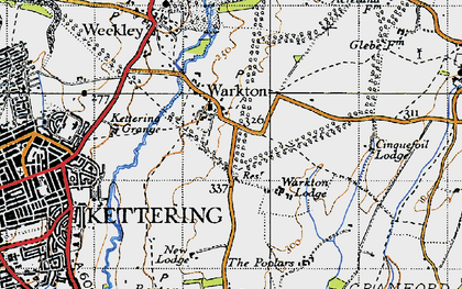 Old map of Warkton in 1946