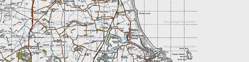 Old map of Warkworth in 1947
