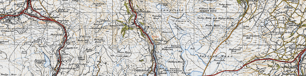Old map of White Holme Resr in 1947