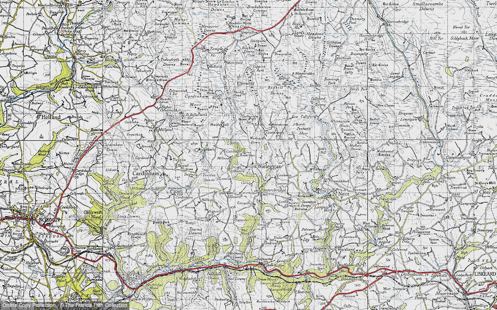 Old Map of Historic Map covering Letter Moor in 1946