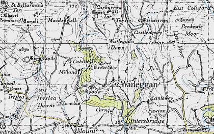 Old map of Warleggan in 1946
