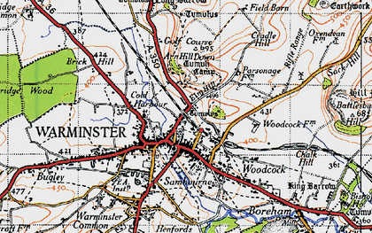 Old map of Warminster in 1946