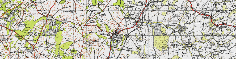 Old map of Wheely Down in 1945