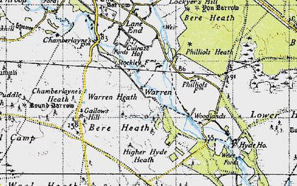 Old map of Woodlands in 1945