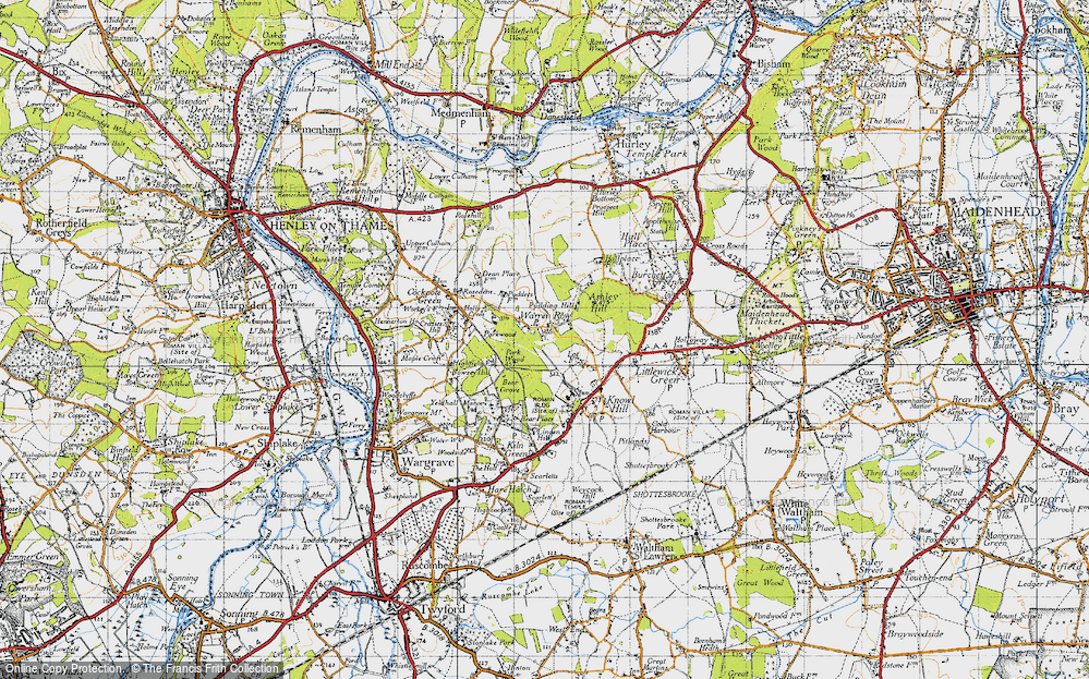 Old Map of Historic Map covering Ashley Hill Forest in 1947