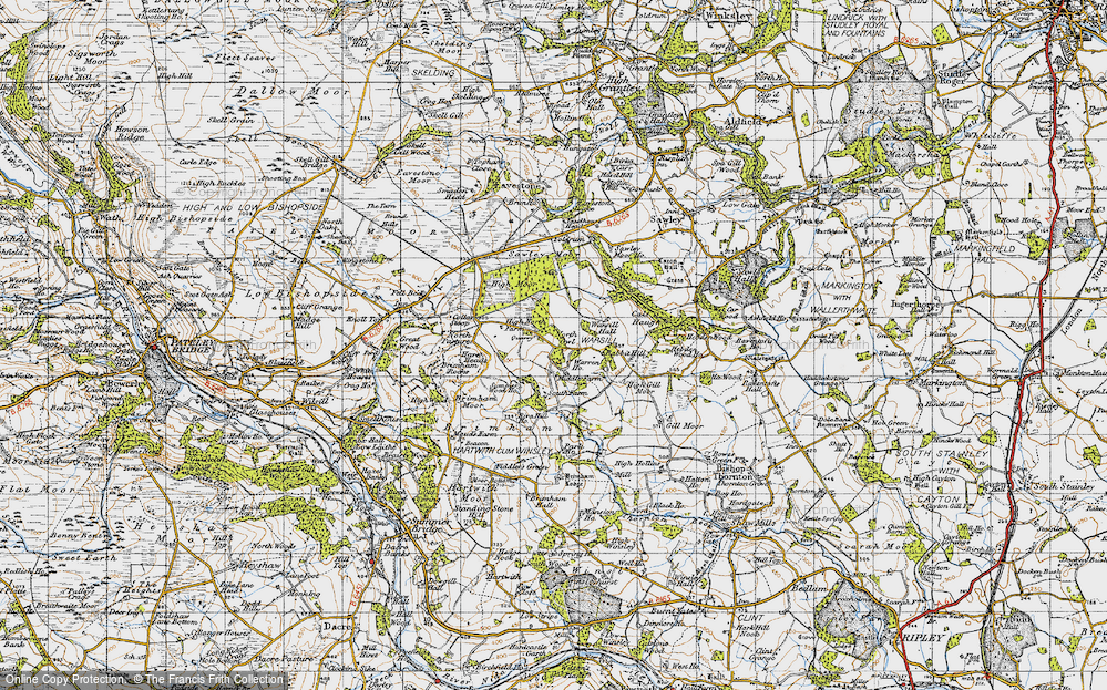Old Map of Historic Map covering Brimham Rocks in 1947