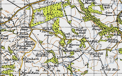 Old map of Brimham Rocks in 1947