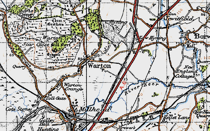 Old map of Warton in 1947
