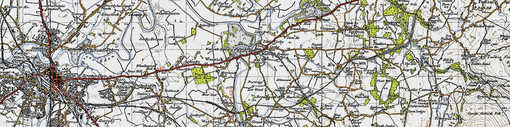 Old map of Warwick Bridge in 1947