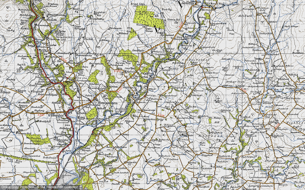 Old Map of Historic Map covering Liddel Water in 1947
