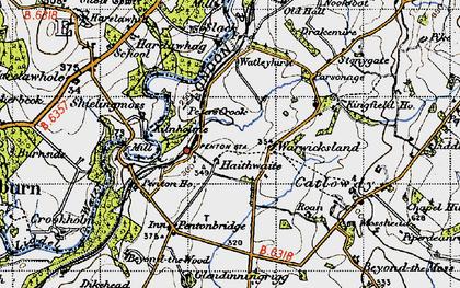 Old map of Liddel Water in 1947