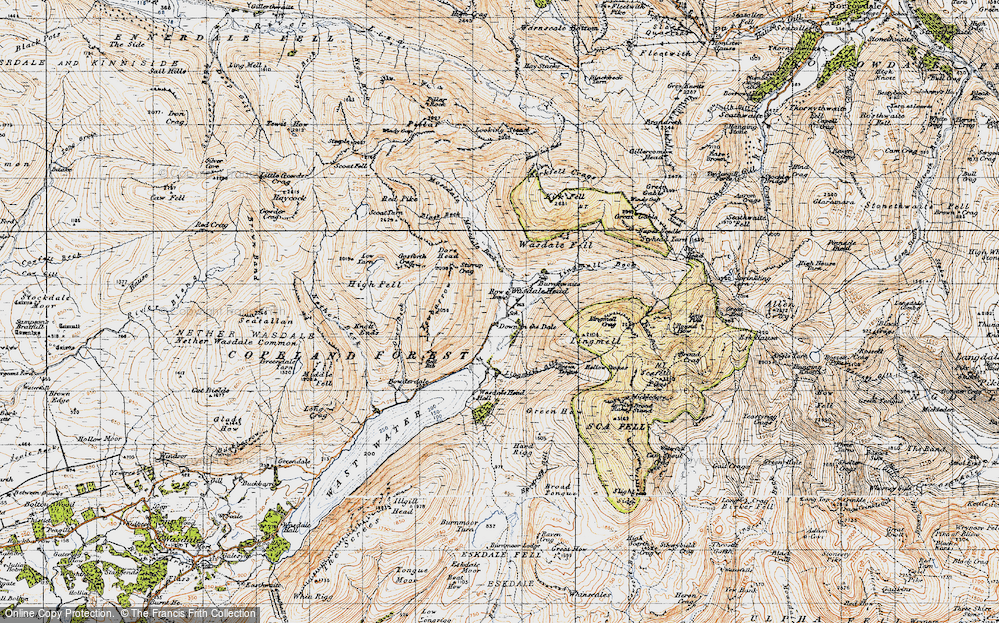 Old Map of Historic Map covering Lingmell Gill in 1947