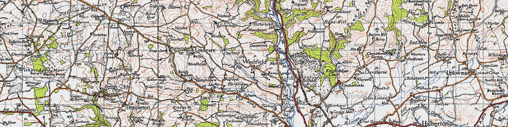 Old map of Washfield in 1946