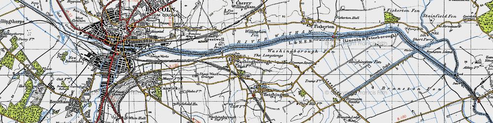 Old map of Willingham Fen in 1947
