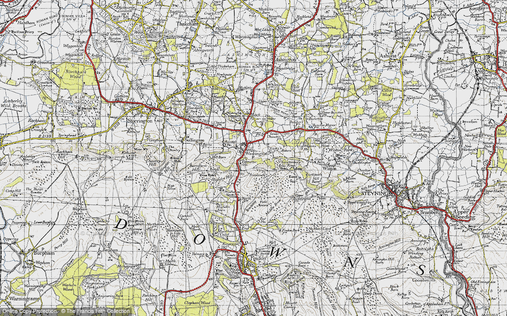 Old Map of Historic Map covering Chanctonbury Ring in 1940