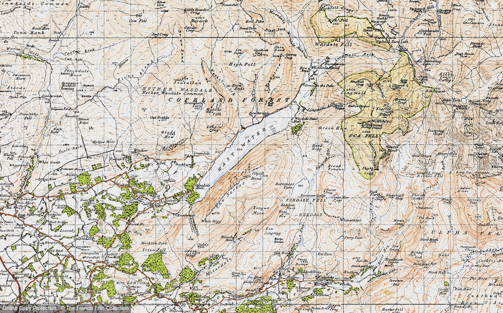 Old Map of Historic Map covering Tongue Moor in 1947