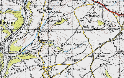 Old map of Langston in 1946
