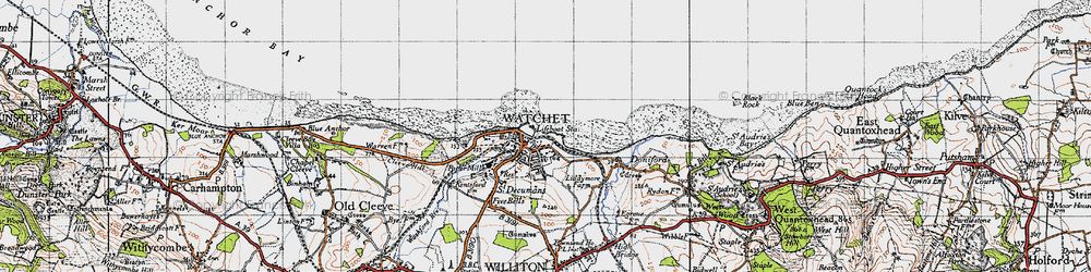 Old map of Watchet in 1946