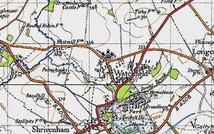 Old map of Watchfield in 1947