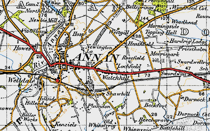 Old map of Whan Scar in 1947