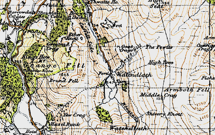 Old map of Ashness Fell in 1947
