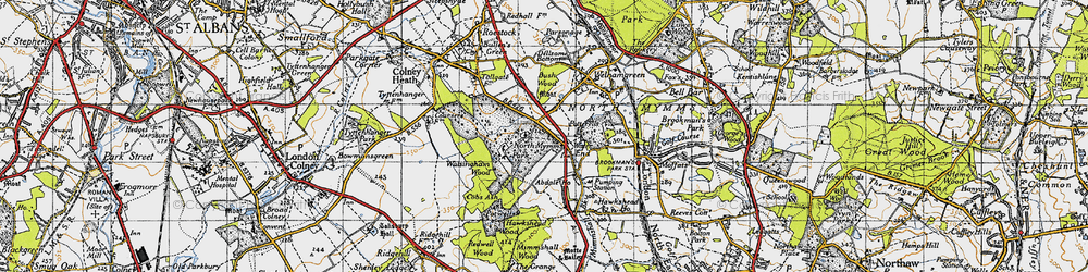 Old map of Water End in 1946