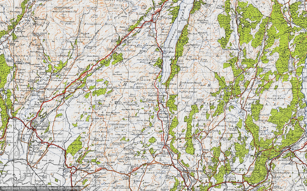 Old Map of Historic Map covering Wool Knott in 1947
