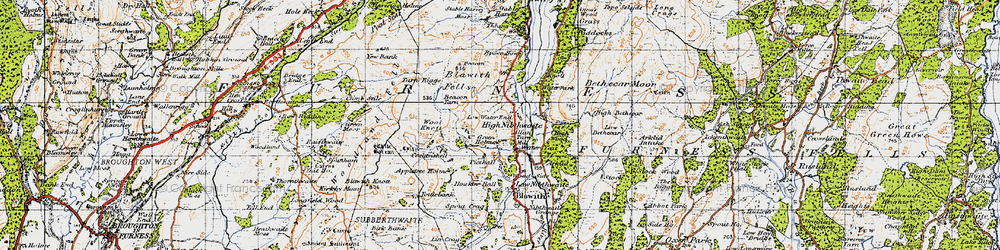 Old map of Wool Knott in 1947