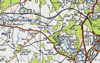 Old map of Ayot Greenway in 1946