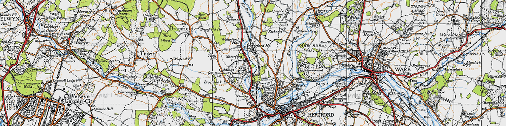 Old map of Waterford in 1946
