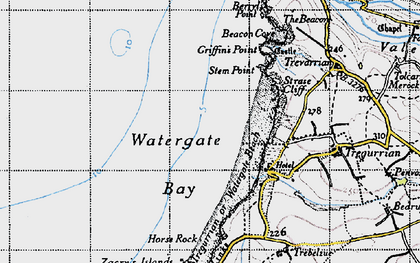 Old map of Watergate Bay in 1946