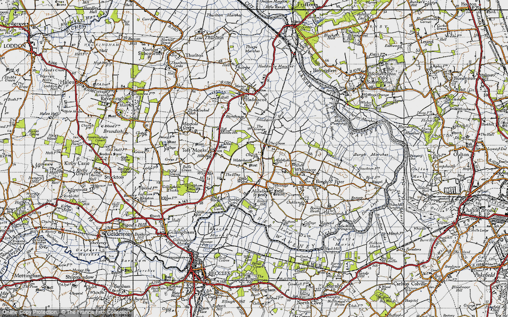 Old Map of Historic Map covering Toft Monks Ho in 1946
