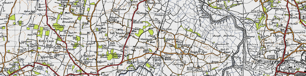 Old map of Toft Monks Ho in 1946
