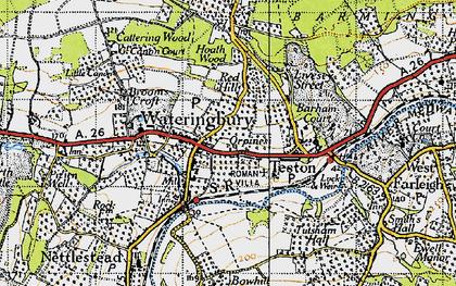 Old map of Wateringbury in 1940