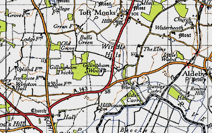 Old map of Alder Carrs in 1946