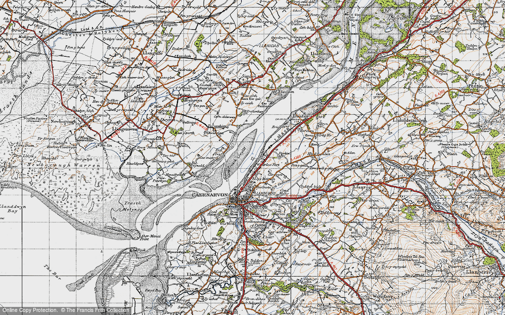 Old Map of Historic Map covering Afon Cadnant in 1947